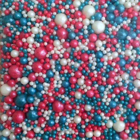 Посыпка сахарная ШАРИКИ РАЗНОГО ДИАМЕТРА 50гр МИКС 180 (красный\т.бирюзовый\жемчуг)