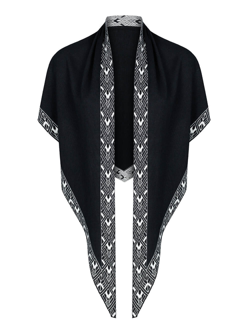 Женский платок черного цвета из шелка и кашемира - фото 1