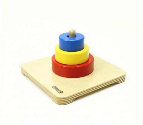 7.15.1 Пирамидка с тремя кольцами разного диаметра и цвета Монтессори-Питер
