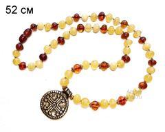 колье из янтаря многоцветное_бусы натуральный янтарь с подвеской крест