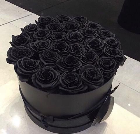 29 черных роз в коробке #26891