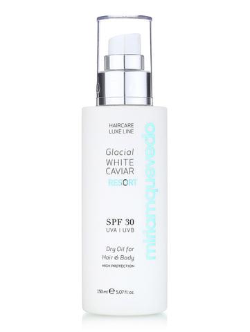 Сухое масло для волос и тела SPF30 с маслом прозрачно-белой икры / Miriamquevedo Glacial White Caviar Resort SPF 30 Dry Oil For Hair and Body