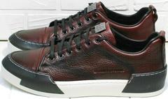 Бордовые кеды мужские кожаные Luciano Bellini C6401 MC Bordo.