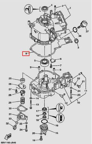 Прокладка картера для лодочного мотора F5 Sea-PRO(4-8)