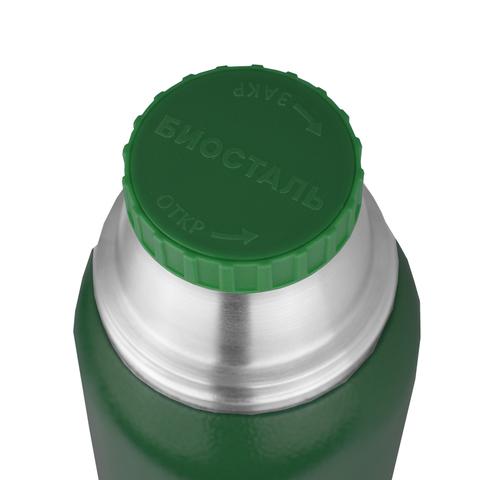 Термос Biostal Охота (1,2 литра), 2 чашки, зеленый