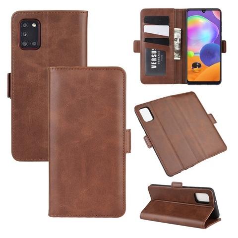 Чехол книжка коричневого цвета для Samsung Galaxy A31, с отсеком для карт и подставкой от Caseport