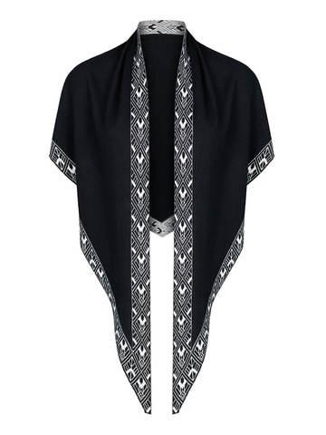 Женский платок черного цвета из шелка и кашемира - фото 2