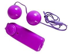 Фиолетовые вагинальные шарики с вибрацией -