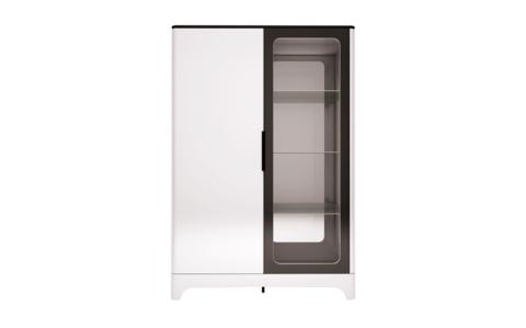 Шкаф комбинированный двухдверный Танго 16 Ижмебель белый матовый/черный матовый