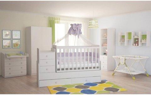 Кроватка детская Polini kids Simple 1111 с комодом, белый