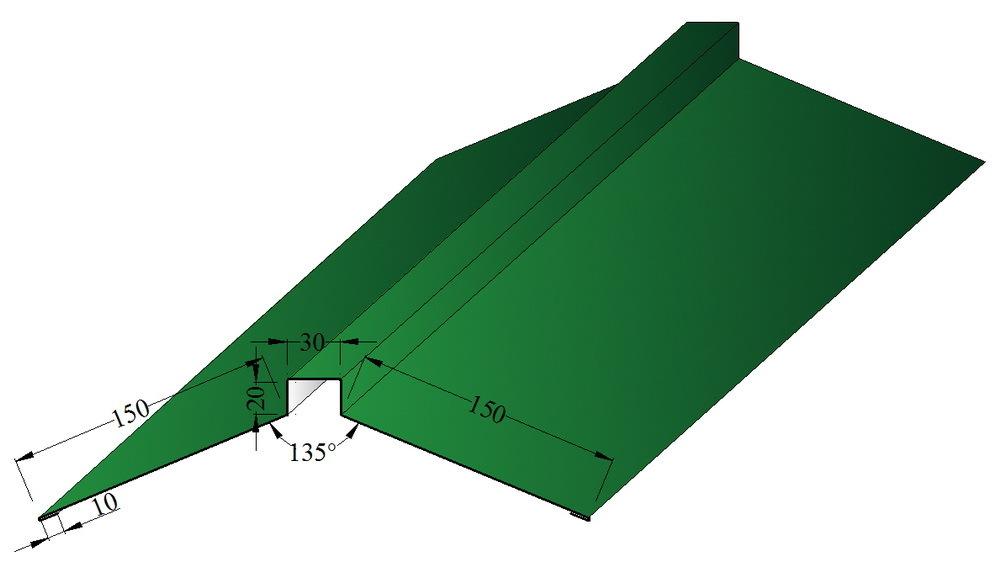 Планка конька плоского фигурного 150х150мм., полиэстер матовый