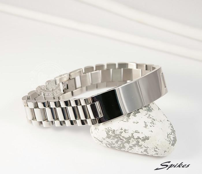 SSBQ-0009-1 Мужcкой браслет из ювелирной стали с пластиной, «Spikes» (21 см) фото 04