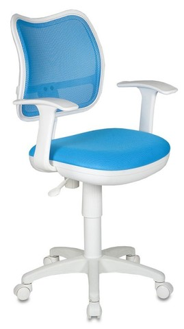 спинка сетка голубой сиденье голубой TW-55 (пластик белый)