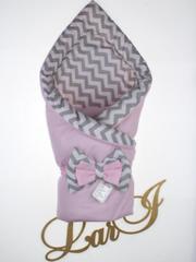 Конверт - одеяло двустороннее Волна (розовый/принт)