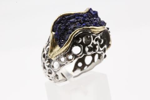 Кольцо с азуритом из серебра 925
