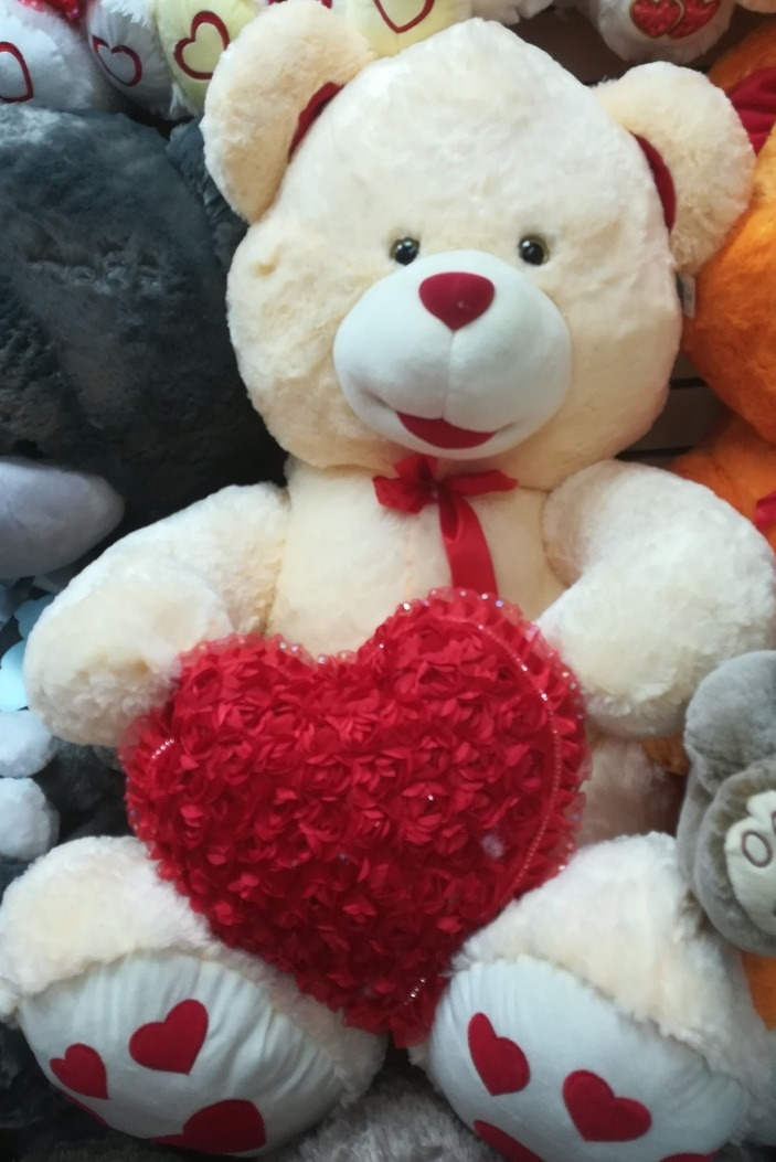 Мишка с красным сердечком 60 см