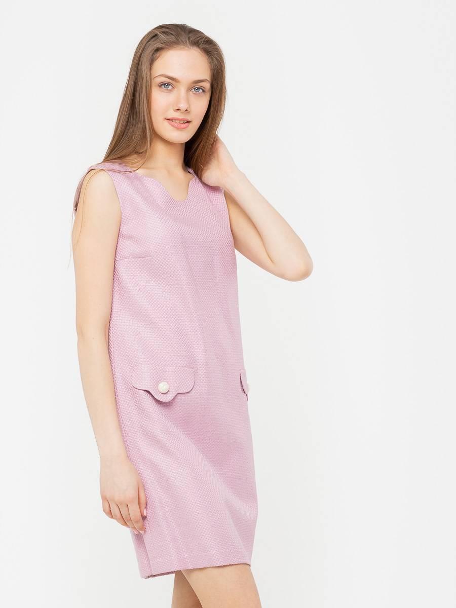 Платье З200-583 - Укороченное летнее платье из хлопка с необычным вырезом горловины и карманами. Платье рассчитано на теплое время года и может сочетаться с босоножками, балетками и сандалиями. Нежно-розовый цвет платья идеален для создания романтического повседневного образа.