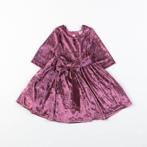 Velvet dress with bow - Lingonberry
