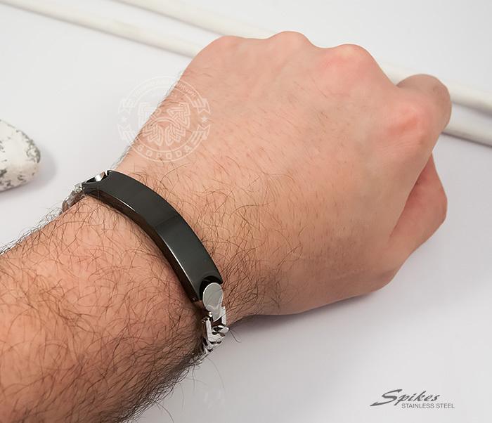 SSBQ-3042 Стильный мужской браслет «Spikes» из стали со вставкой черного цвета (24 см) фото 04