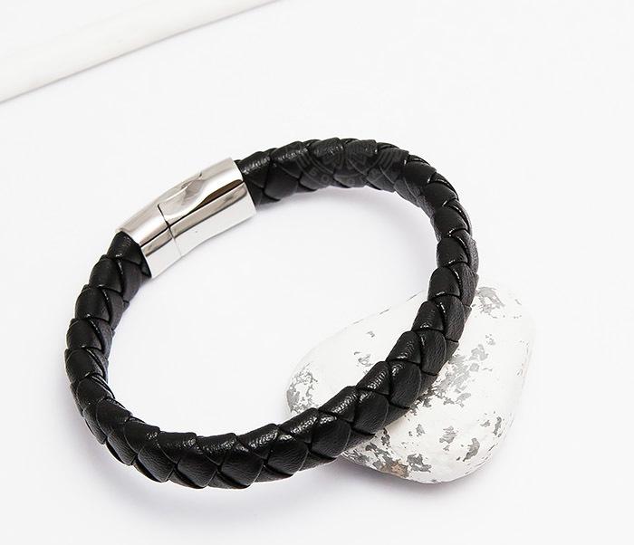 BM447-1 Плетеный мужской браслет из натуральной кожи черного цвета (22 см)