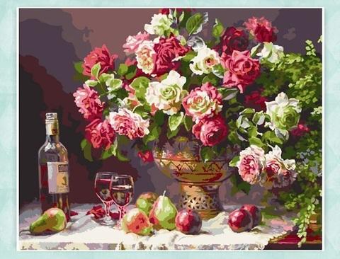 Картина раскраска по номерам 30x40 Натюрморт с вином и фруктами