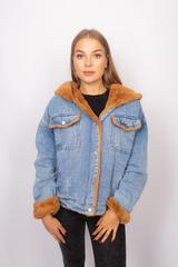 Джинсовая куртка с мехом коричневого цвета недорого