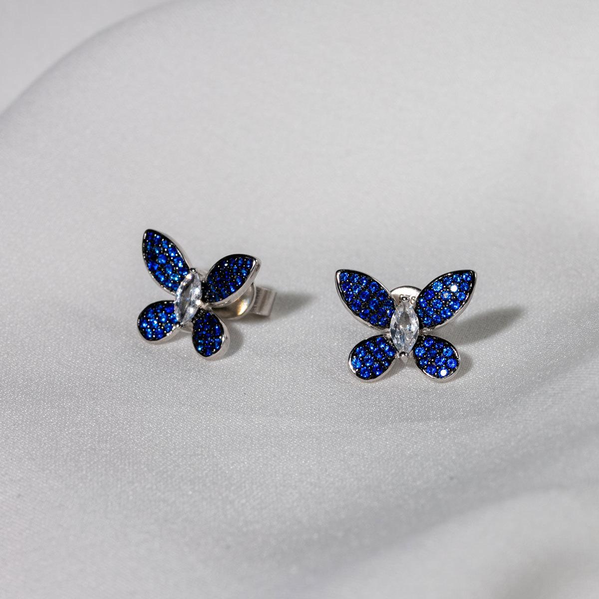 Серьги-пусет Бабочки синий (серебро 925)