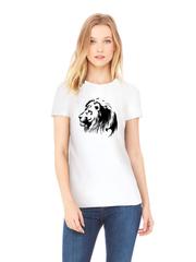 Футболка с принтом Лев (Lion) белая w002