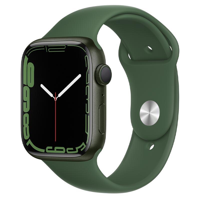 Apple Watch Series 7, GPS, 45 мм, корпус из алюминия зеленого цвета, спортивный ремешок «зелёный клевер»