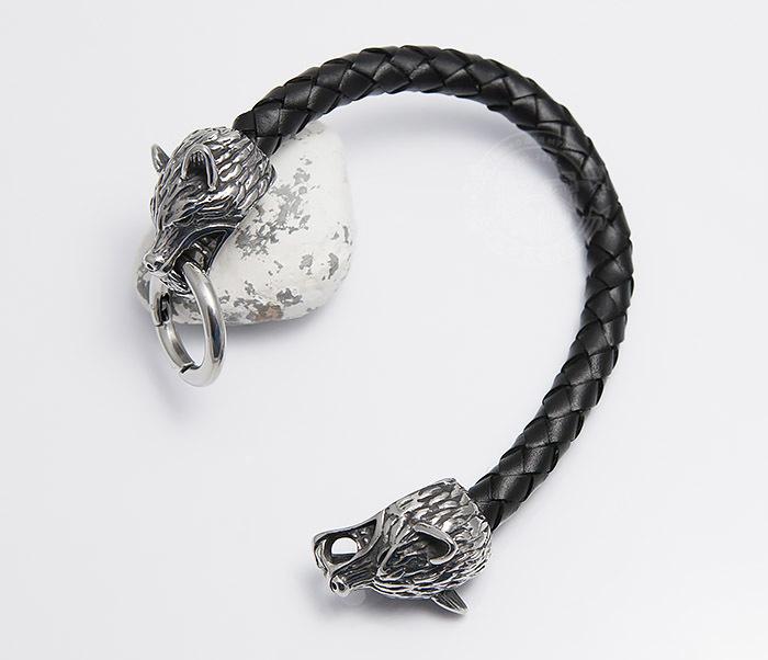 BM471 Мужской браслет из шнура со стальными волками (21 см) фото 02