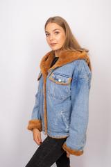 Джинсовая куртка с мехом коричневого цвета интернет магазин