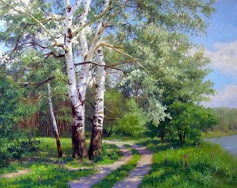 Картина раскраска по номерам 30x40 Береза у тропинки в лесу