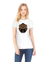 Футболка с принтом Медведь, Медвежонок (Bear) белая w008