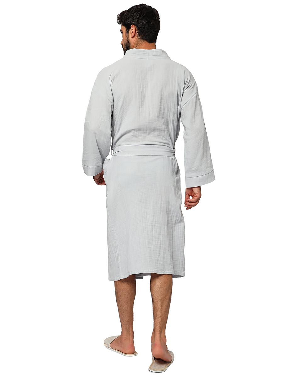 Серый муслиновый банный халат