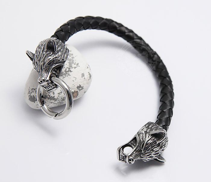 BM471 Мужской браслет из шнура со стальными волками (21 см) фото 03