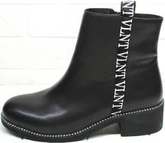 Полусапожки весна осень женские Jina 6845 Leather Black.