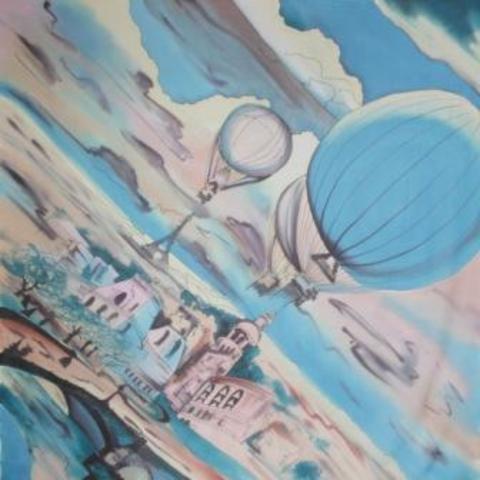 Шерстяной платок батик Дневной Париж С-74-sh