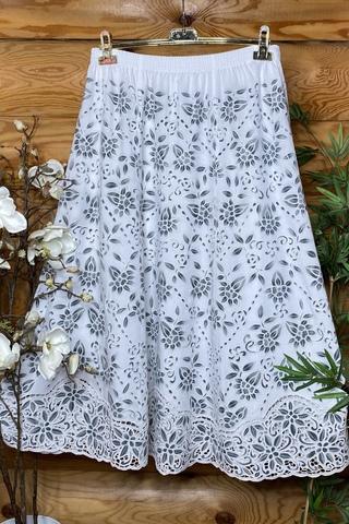 Юбка Елена бело-серый цвет