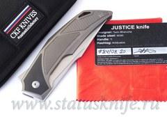 Нож CKF/BHARUCHA Justice (М390, титан, цирконий, ручной сатин)