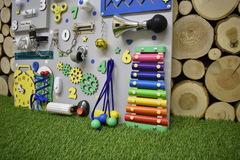 Бизиборд стандарт 50х65 см с ксилофоном цветной для мальчика