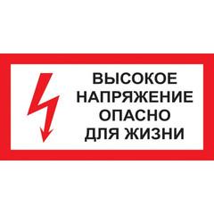 Знак безопасности A15 Высокое напряжение.Опасно д/жизни (пластик 300х150)