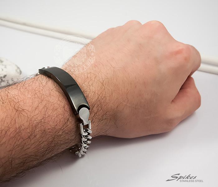 SSBQ-3042 Стильный мужской браслет «Spikes» из стали со вставкой черного цвета (24 см) фото 05