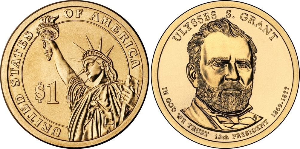 1 доллар 18-й президент США Улисс Симпсон Грант 2011 год