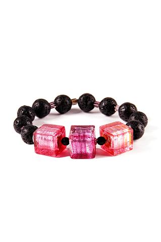 Браслет Murano Flex Cubo черно-розовый