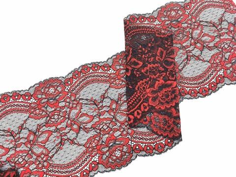 Эластичное кружево, 22 см, черно-красное, (Арт: EK-2531), м