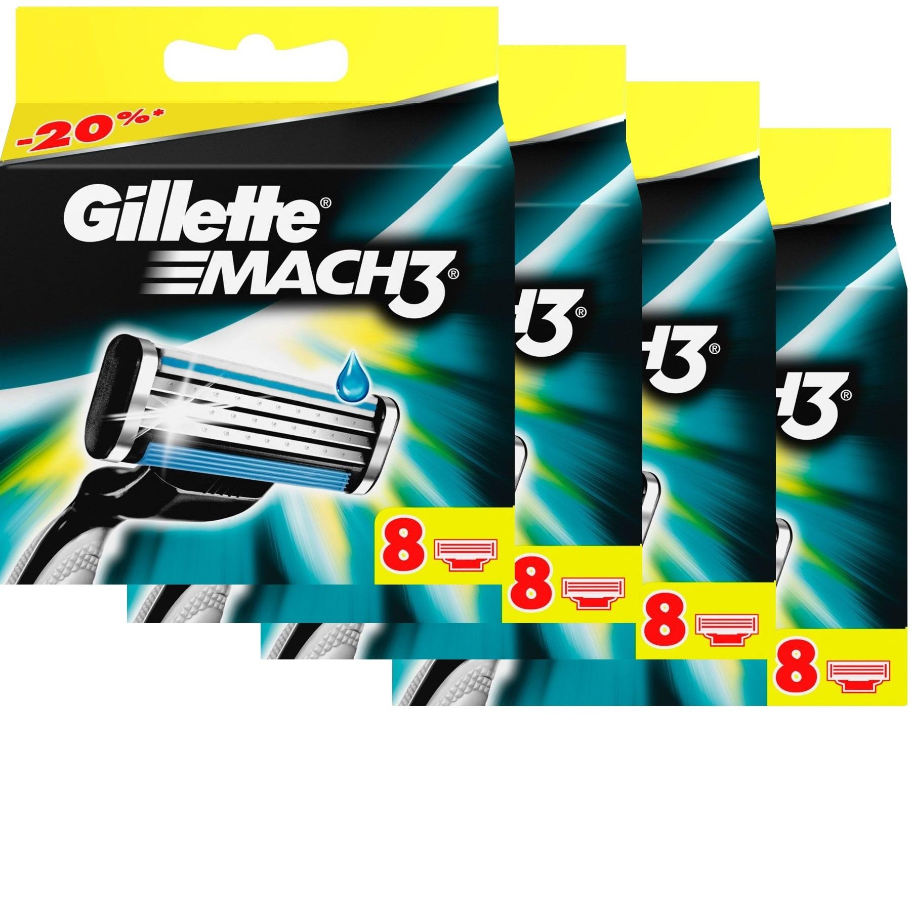 Сменные кассеты для бритья Gillette MACH3 комплект 4 по 8 (32 шт)