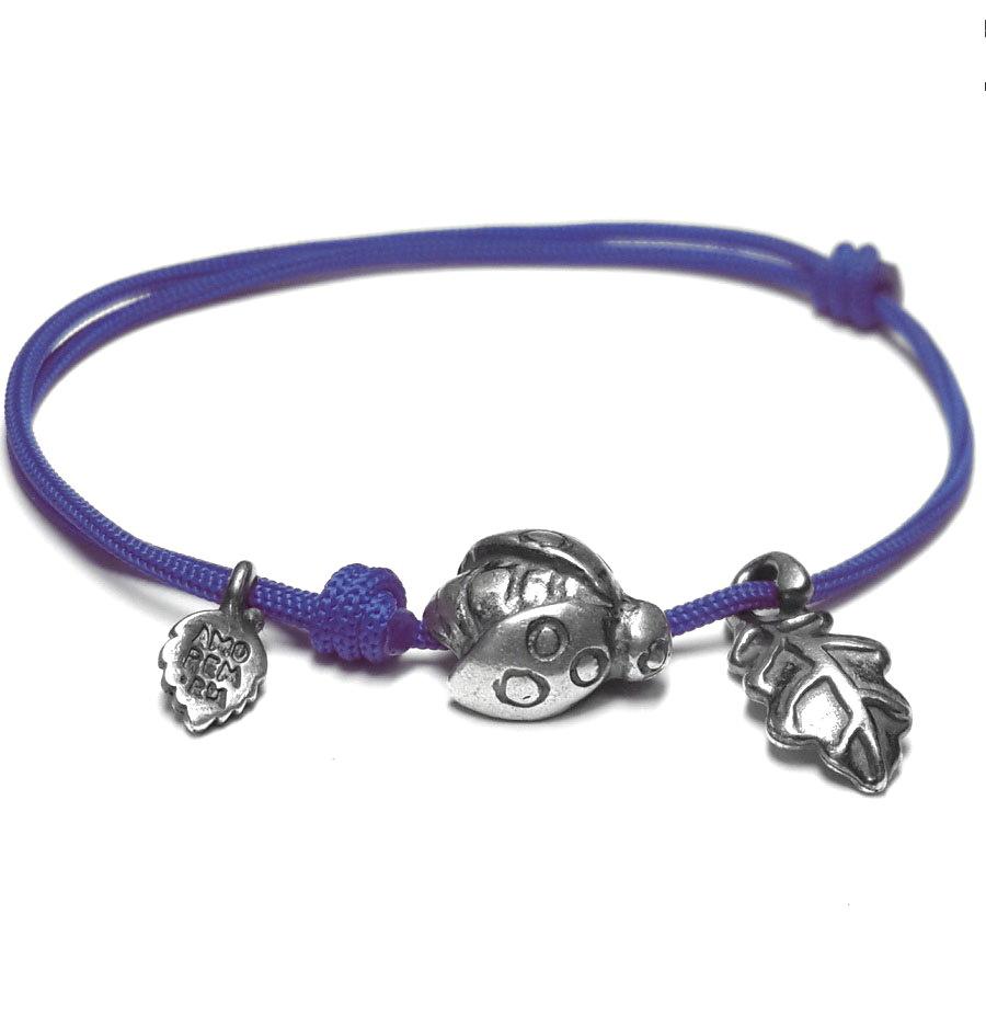 Ladybug bracelet, sterling silver