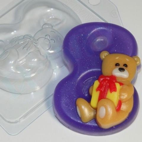 Пластиковая форма для шоколада жен. ВОСЬМЕРКА МИШКА 90х60мм