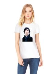 Футболка с принтом кинофильма Шерлок (Sherlock,Бенедикт Камбербэтч) белая w006