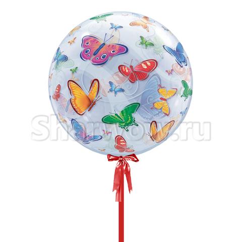 Прозрачный шар бабл Бабочки, 56 см